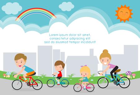 Gelukkige familie op fietsen. Gezond fietsen met kinderen in park, vader, moeder, zoon en dochter rijden op fietsen achtergrond, sjabloon voor reclamefolder, uw tekst, vectorillustratie