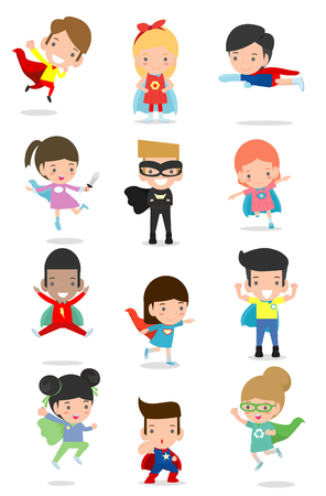 Cartoon big set of Kid Superheroes wearing comics costumes,Kids With Superhero Costumes set, kids in Superhero costume characters isolated on white background, Cute little Superhero Childre