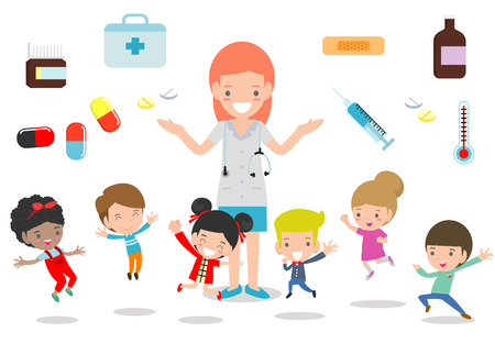 Doctor and kids. Doctor standing together with children, Boy and Girl Be happy Around the doctor on white background. flat style vector illustration Vektoros illusztráció