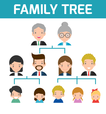 Family Tree, diagram of members on a genealogical tree, isolated on white background, Cartoon vector illustration of family tree, big family vector Illustration