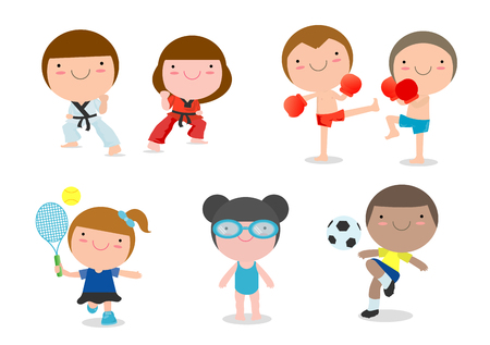 kids and sport, Kids playing various sports on white background, cartoon kid sports, boxing, football, soccer, tennis, taekwondo, karate, swimming, Vector illustration Vectores