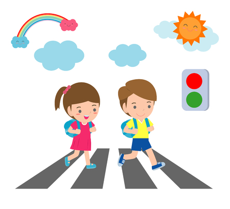 kids across the road, Students walk across the crosswalk with a traffic light,Vector Illustration