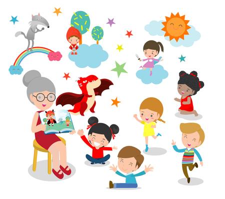 süße Kinder hören ihrem Lehrer zu Erzählen Sie eine Geschichte, lesen Sie Bücher, lesen Sie Bücher für Kinder im Kindergarten, Lehrer und Kinder, Kinder hören gerne Geschichten, wie Lehrer Bücher lesen, Vektor-Illustration