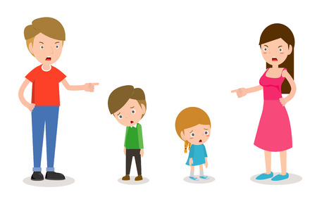 Scold children, father and mother scolding son and daughter, Parents angry and scold the kids isolated on white background Vector Illustration