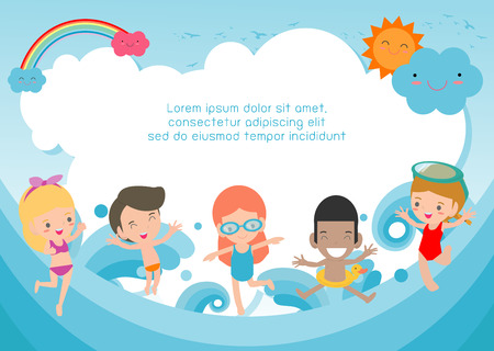 Group of kids jumping on the beach in swimsuit, Template for advertising brochure,your text , Kids and frame,child and frame,Vector Illustration