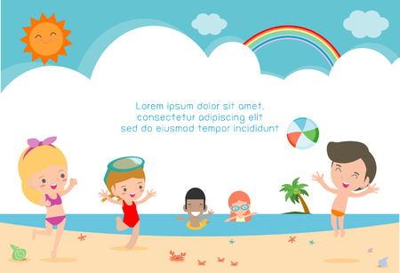 Group of children play on the beach, Happy kids on the beach, child having fun on the beautiful beach,Template for advertising brochure,your text, Kids and frame,child and frame,Vector Illustration