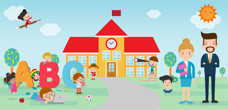 Kids go to school, back to school template with kids, teacher and students, kids and playground on background Vector Illustration. Illustration