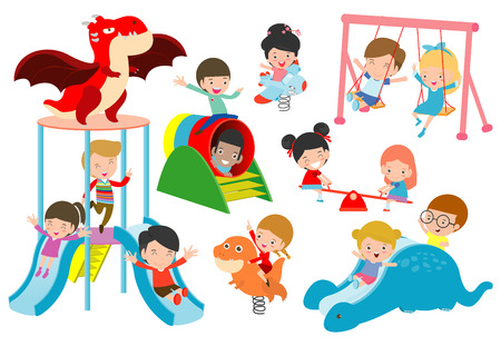 kids playing Outside, child playing at playground,happy children playing park Vector illustration