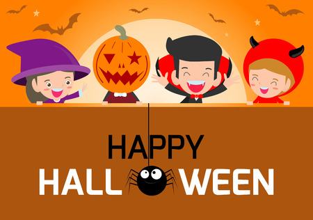 Happy Halloween Poster Party and theme design background, Group of child in Halloween costume, Happy Halloween,Template for advertising brochure,your text, Vector Illustration