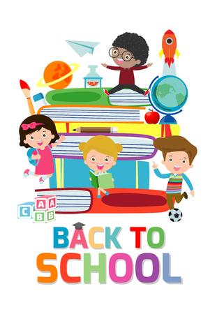 back to school,cute kids reading book, children with books, Happy Children while Reading Books, Vector Illustration on white background.education concept Stock Illustratie