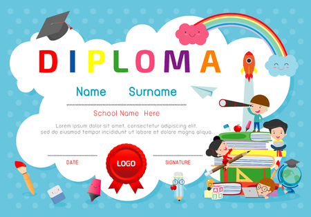 Certificates kindergarten and elementary, Preschool Kids Diploma certificate pattern design template, Diploma template for kindergarten students, Certificate of kids diploma, vector illustratio 向量圖像