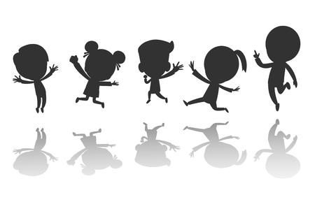 Groupe de silhouette d'enfants noirs sautant, silhouettes d'enfants dansant, silhouettes d'enfants sautant sur fond blanc Illustration vectorielle