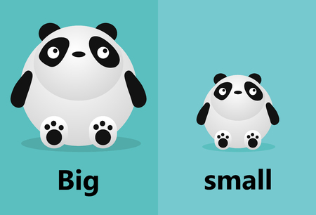 Opposite big and small, Opposite English Words big and small on white background,panda illustration vector Vektorové ilustrace