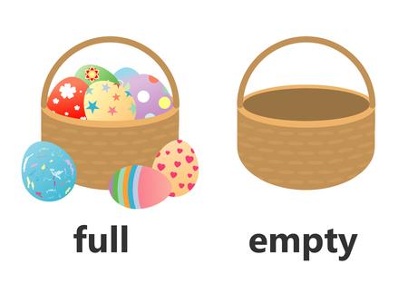 Opposite full and empty vector illustration, Opposite English Words full and empty  vector illustration on white background.