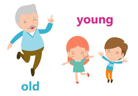 Adjectifs opposés illustration vieux et jeune, illustration vectorielle opposée mots anglais vieux et jeune sur fond blanc.