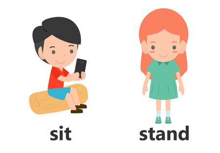 Mots opposés assis et debout illustration vectorielle, mots anglais opposés assis et debout illustration vectorielle sur fond blanc. Vecteurs