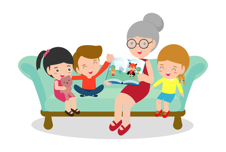 Grandmother reading fairytales to her grandchildren, reading and telling book fairy tale story, Kids Listening to Their Grandmother Tell a Story, Vector Illustration