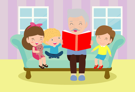 Grandfather reading fairy tales to his grandchildren, reading and telling book fairy tale story, Kids Listening to Their Grandfather Tell a Story, Vector Illustration