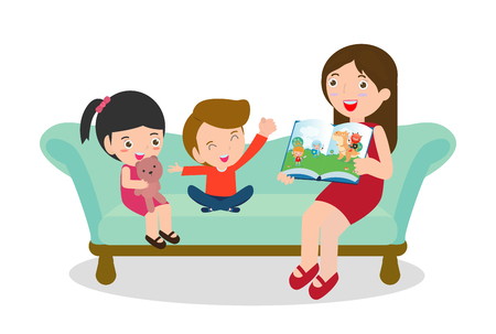 mother reading fairytales to her son and daughter, family, reading and telling book fairy tale story, Kids Listening to Their mom Tell a Story, Vector Illustration Ilustrace