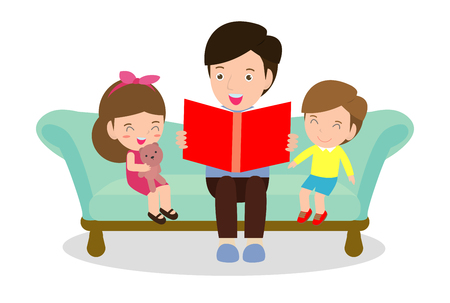 father reading fairytales to his son and daughter, family, reading and telling book fairy tale story, Kids Listening to Their dad Tell a Story, Vector Illustration on white background  イラスト・ベクター素材