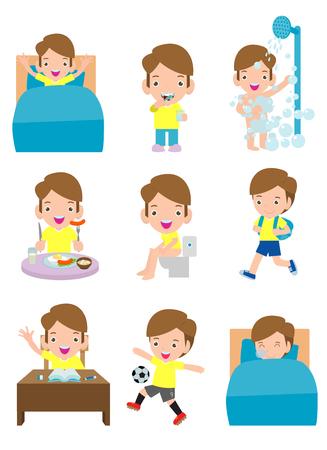 actividades de rutina diaria para niños con niño lindo, rutinas para niños, rutina diaria de niños, actividades diarias de niños pequeños, rutina diaria con niños lindos ilustración vectorial sobre fondo blanco