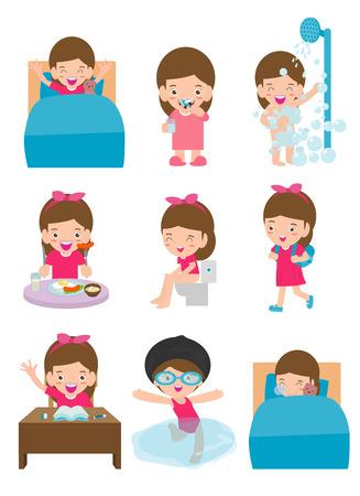 dagelijkse routine-activiteiten voor kinderen met schattig meisje, routines voor kinderen, dagelijkse routine van het kind, dagelijkse activiteiten voor kleine kinderen, dagelijkse routine set met schattige kinderen vectorillustratie op witte achtergrond