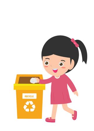 Rifiuti per bambini per il riciclaggio, illustrazione di bambini che segregano rifiuti, riciclaggio dei rifiuti, Salva il mondo, riciclaggio maschile, bambini che segregano rifiuti, bambini e riciclaggio.