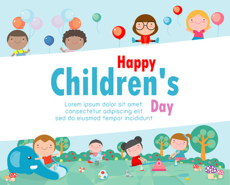 Happy children's day background, vector illustration