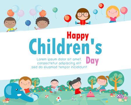 Happy children's day background, vector illustration Imagens - 113128045