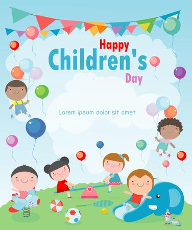 Fond de fête des enfants heureux, illustration vectorielle