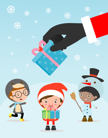 Merry Christmas, Santa Claus Holding Christmas Gift, Santa handing out gifts to children,Template for advertising brochure,your text ,Santa Claus and frame,Happy new year,card vector Illustration