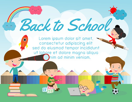 Back to school banner background.welcome back to school,children reading book,Cute school kids.education concept, Template for advertising brochure, your text ,Vector Illustration Illustration