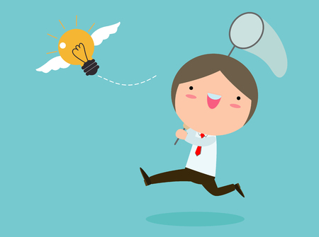 Businessman Chasing Flying Light Bulb. Inspiration Concept. Business Concept vector Illustration. 向量圖像