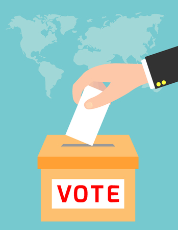 Voting concept in flat style,hand putting paper in the ballot box, vector illustration