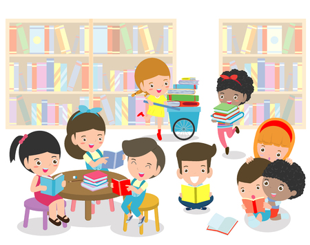 Happy kids reading book in a library ,cute children reading books, Happy Children while Reading Books education concept back to school Vector Illustration