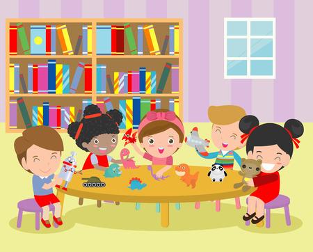 happy children's activity in the kindergarten, cute kids with playing toy, Group of happy school child in classroom, education,Vector Illustration Vektoros illusztráció