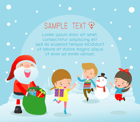 Merry Christmas, Santa handing out gifts to children, Children jumping with joy when met Santa Claus,Template for advertising brochure,your text ,Happy new year,vector Illustration