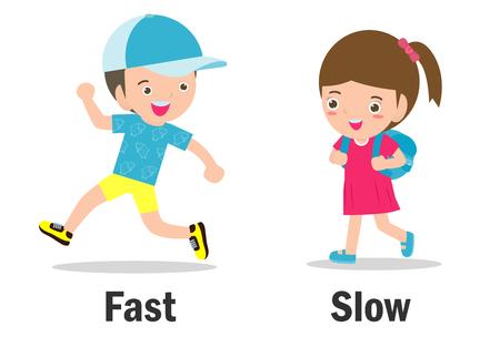 Palabras opuestas niño y niña ilustración vectorial, palabras opuestas en inglés niño y niña sobre fondo blanco. Ilustración de vector