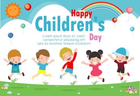 Happy children's day background, Happy children's day poster with happy kids vector illustration Vector Illustration