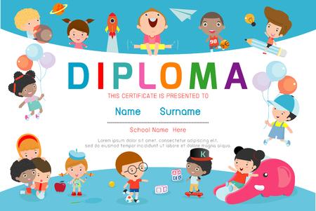 Certificados de jardín de infantes y primaria, plantilla de diseño de patrón de certificado de Diploma de niños en edad preescolar, plantilla de diploma para estudiantes de jardín de infantes, certificado de diploma de niños, ilustración vectorial