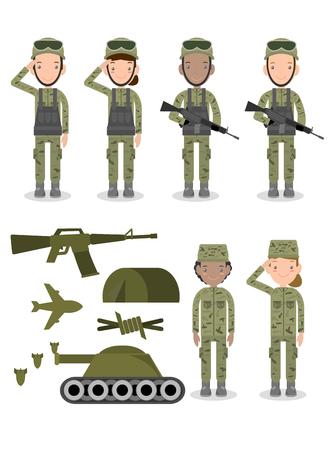 Satz von Soldaten, Gruppe von Armee, Militärs, Mann- und Frauensoldaten. Flache Designleute isoliert auf weißem Hintergrund, US-Armee, Soldaten isolierte Vektorillustration vector
