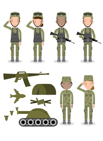 set of soldiers, Group of army, military people, man and woman soldiers. Flat design people characters isolated on white background, US Army , soldiers Isolated vector illustration
