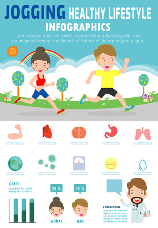 Man and woman jogging infographic. Healthcare concept. Planning and Benefits of running icon. Vector flat cartoon design illustration isolated on  background. Illustration