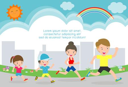 trotar en familia para la salud. Concepto de salud Plantilla para folleto publicitario, su ilustración text.vector aislado sobre fondo blanco.