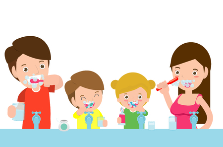 illustration of Kids with parents a Tooth,family take care of and clean a tooth. cartoon characters - Vector Çizim