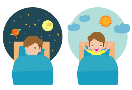 Vector Illustration Of Kid Sleeping And Waking, child sleeping on tonight dreams, good night and sweet dreams. he wake up in the morning. Archivio Fotografico - 116271686