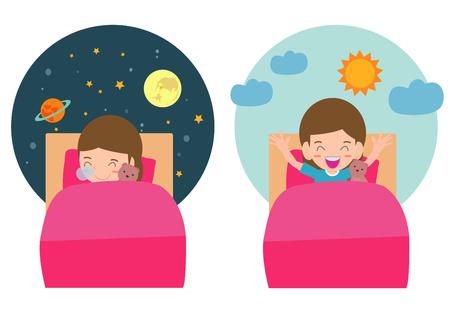 Illustrazione vettoriale di bambino che dorme e si sveglia, bambino che dorme sui sogni di stanotte, buona notte e sogni d'oro. si sveglia la mattina. Vettoriali