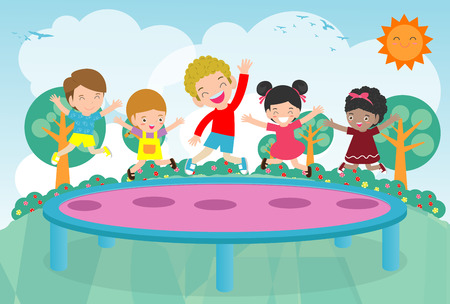Kids jumping on trampoline. child Practicing Different Sports And Physical Activities In Physical Education Class Vector flat cartoon illustration Illustration