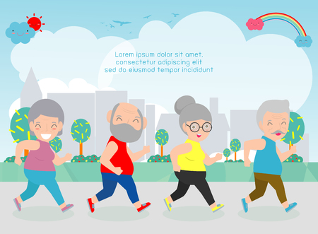 Vector Illustration of senior couple running in a park. old man and old lady run. senior runner, gym or outdoor healthy lifestyle. Sport adult old people exercising