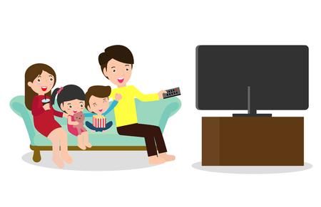 Ilustracja przedstawiająca rodzinę oglądającą razem program telewizyjny, szczęśliwą rodzinę oglądającą telewizję siedzącą na kanapie w domu